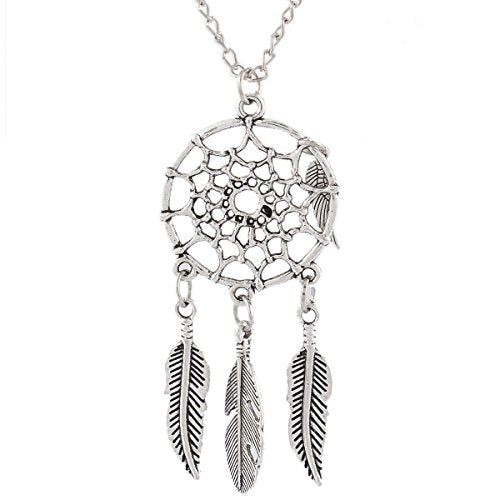 Women's Dangling Feather and Leaf Filigree Tribal Dreamcatcher Pendant Chain Necklace - InnovatoDesign
