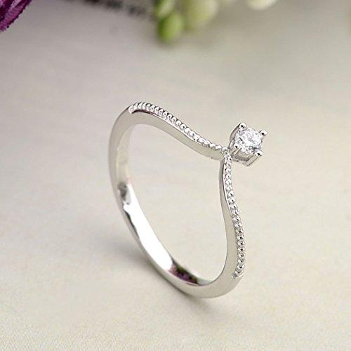 925 Sterling Silver Cubic Zirconia Elegant Princess Crown Tiara Band Ring Clear