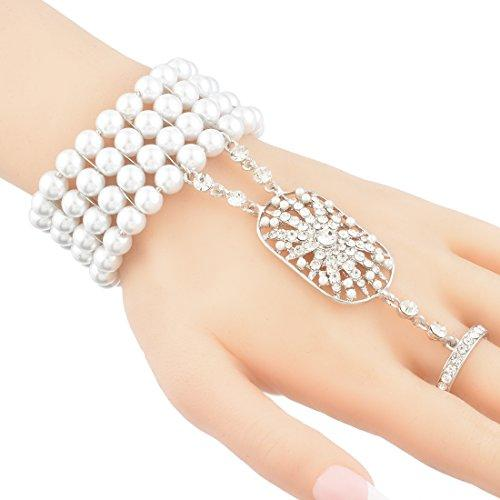 Bridal White Rhinestone Faux Pearl Bracelet with Ring