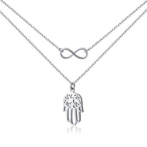 Sterling Silver Double Chain Infinity Hamsa Hand Evil Eye Pendant Necklace