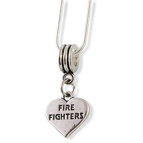 Fire Fighters on a Heart Snake Chain Necklace