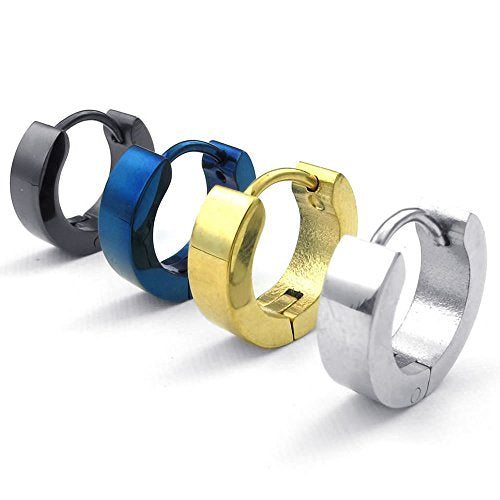 Men Stainless Steel Classic Plain Huggie Hinged Hoop Earrings, 4 Pairs, Black Blue Gold - InnovatoDesign