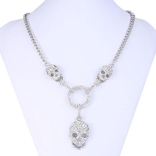 3 Skull Circle Pendant Necklace with Clear Austrian Crystal