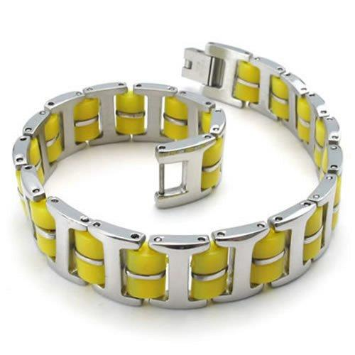 Bracelet Bangle, Stainless Steel Rubber, Unisex Men Women, Color Yellow Silver