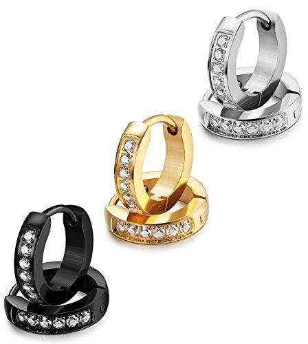 13MM Stainless Steel Small Hoop Earrings for Men Women Huggie Earrings CZ Inlaid