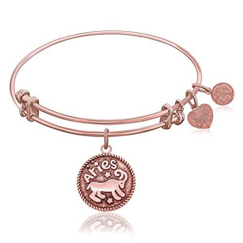 Expandable Bangle in Pink Tone Brass with Aries Symbol