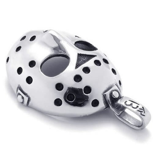 Stainless Steel Halloween Jason Mask Men Necklace Pendant - Silver, 24 inch Chain