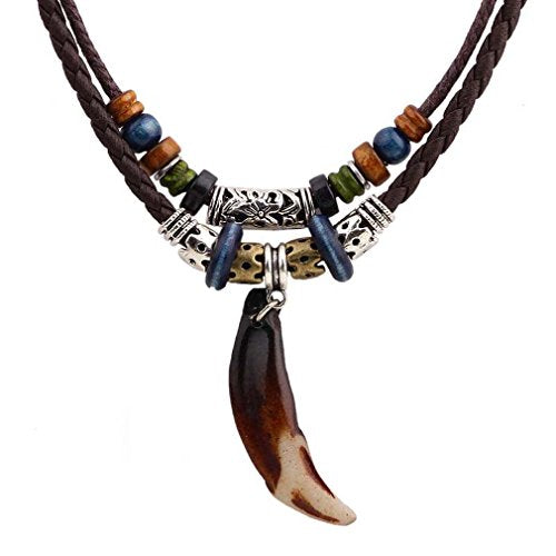 Unisex Brown Resin Wolf Tooth Beads Brown Leather Cord Necklace