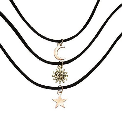 Women Necklace Sun Moon Star Pendants Velvet Retro Chokers Jewelry 33cm 3Pcs Black - InnovatoDesign