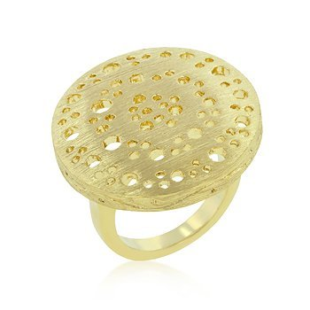 Textured Golden Saucer Ring - InnovatoDesign