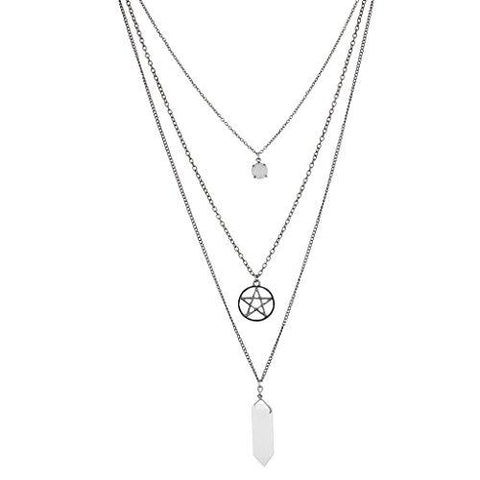 Boho White Gemstone Triple Layer Pentagram Chain Necklace