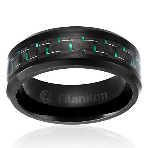 8MM Men's Titanium Ring Wedding Band | Black Plated with Black and Green Carbon Fiber Inlay | Beveled Edges