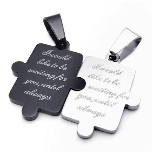 2pcs Men Women Couples Puzzle Stainless Steel Pendant Love Necklace, 18 & 22 inch Chain, Black