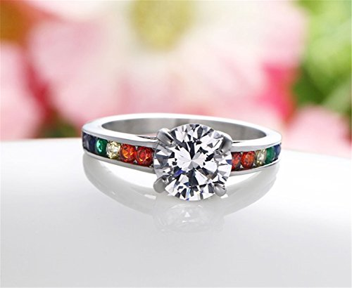 Women Stainless Steel Rainbow Prong-set Cubic Zirconia Lesbian Wedding Engagement Promise Eternity Band LGBT Pride Ring - InnovatoDesign