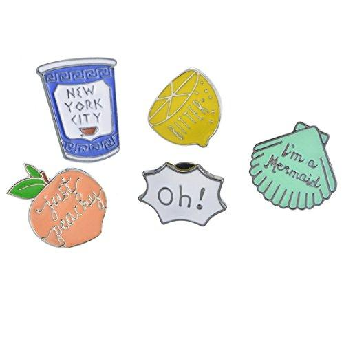 Acrylic Cartoon Brooch Set(Fruit and Cup and Letter) for Women Girls Clothing Bag Decor 5Piece