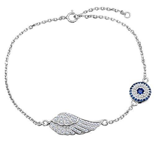 925 Sterling Silver Full CZ Angel Wing Feather Adjustable Hand Chain Link Bracelet Clear