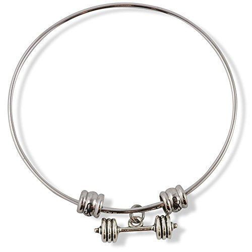 Straight Small Barbell Dumbell Fancy Charm Bangle - InnovatoDesign
