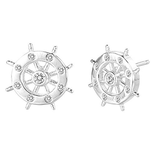 925 Sterling Silver CZ Nautical Ship Wheel Daily Stud Earrings Clear