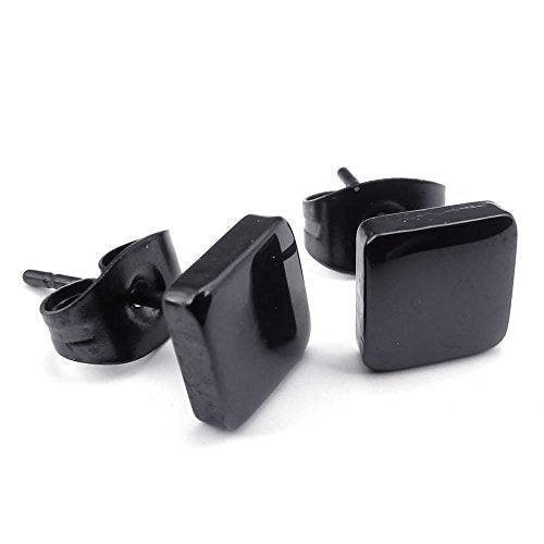 Men Women Stainless Steel 6mm Classic Square Stud Huggie Hoop Earrings Set, Black - InnovatoDesign
