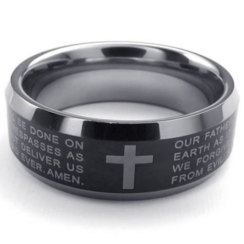 Men Tungsten Ring, 8mm Cross English Lords Prayer Band, Black - InnovatoDesign
