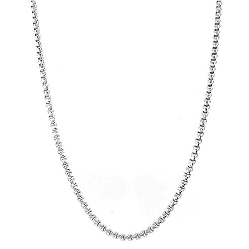 Women 2.5mm Classic Box Stainless Steel Chain Necklace, Silver,