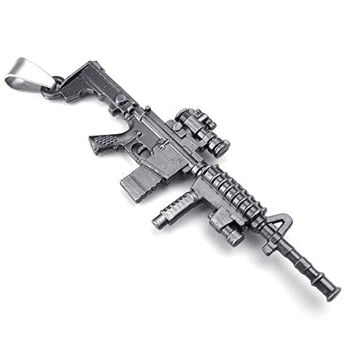 Men Army Style Gun Pendant Necklace, 24 inch Chain, Black