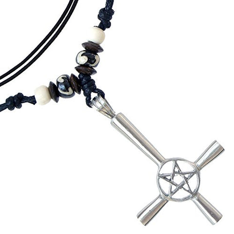 Inverted Cross Pentagram star Silver Pewter Pendant Necklace