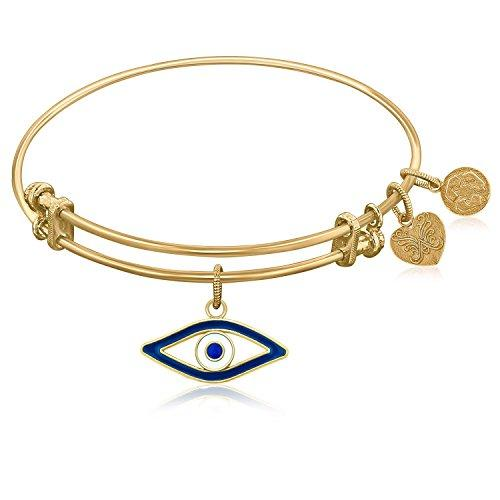 Expandable Bangle in Yellow Tone Brass with Evil Eye Symbol