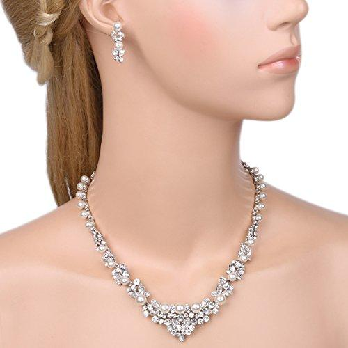 Bridal Leaf Jewelry Set Clear Austrian Crystal Simulated Pearl