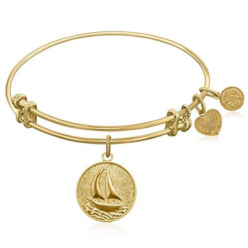 Expandable Bangle in Yellow Tone Brass with Sailboat Smooth Journey Symbol