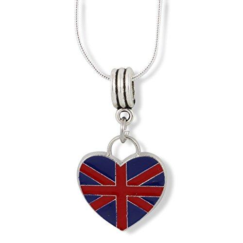 British Flag on a Heart (Large) Charm Snake Chain Necklace