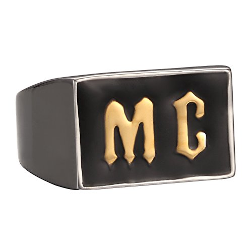 Men MC Ring Band Gold 316L Stainless Steel Silver Biker
