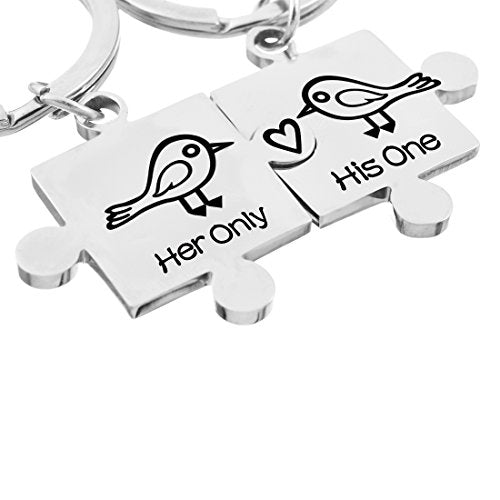 His Her Only One Little Bird Stamped Keychain Ring Set - InnovatoDesign