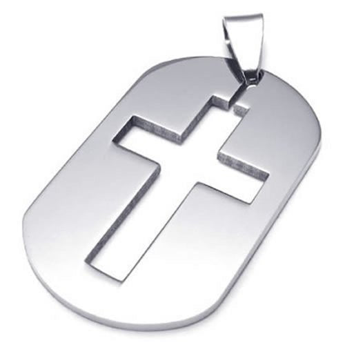 Stainless Steel Dog Tag Cross Men Women Pendant Necklace, Silver, 23 inch Chain - InnovatoDesign