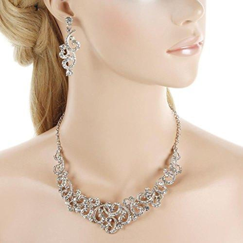 Bridal Flower Wave Necklace Earrings Set Austrian Crystal Silver-Tone Clear