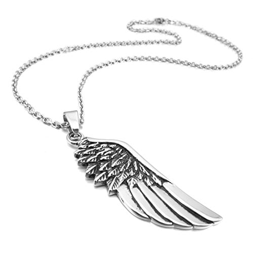 Men's Stainless Steel Pendant Necklace Silver Tone Feather Angel Wing -With 23 Inch Chain - InnovatoDesign