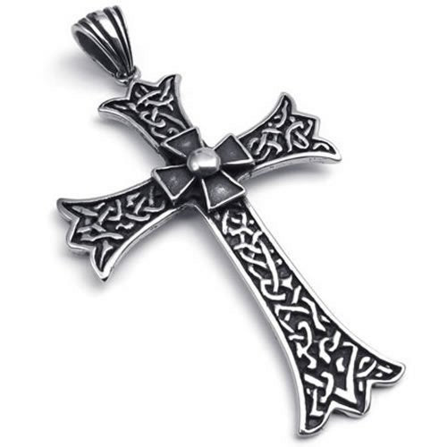 Large Vintage Stainless Steel Cross Pendant Men Necklace, Black, 24 inch Chain - InnovatoDesign