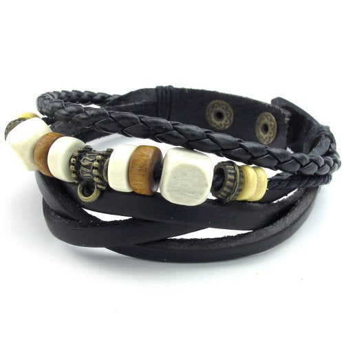 Men Women Leather Rope Bracelet, Adjustable Wrap Bangle, Black - InnovatoDesign