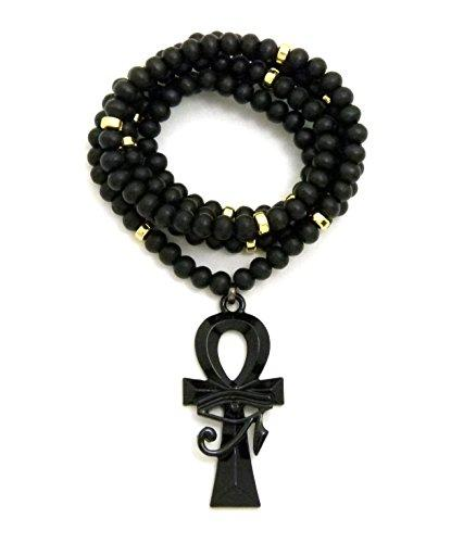 Egyptian Eye of Horus Ankh Pendant Wooden Bead Chain Necklace in Jet Black Tone