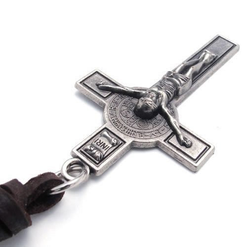 Men Vintage Style Jesus Crucifixion Cross Pendant Leather Cord Necklace Chain