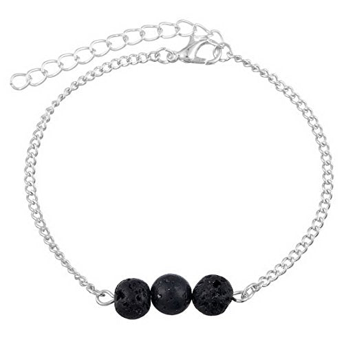 Silver Color Lava Rock Black Healing Energy Stone Chain Bracelet - InnovatoDesign