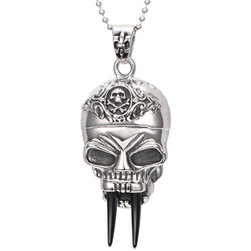 Stainless Steel Gothic Skull Vampire Men's Pendant Necklace, Silver Black, 24 Inch Chain