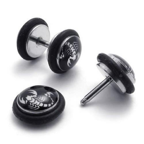 2pcs Stainless Steel Scorpion Stud Men Earrings, Color White Black, 1 Pair