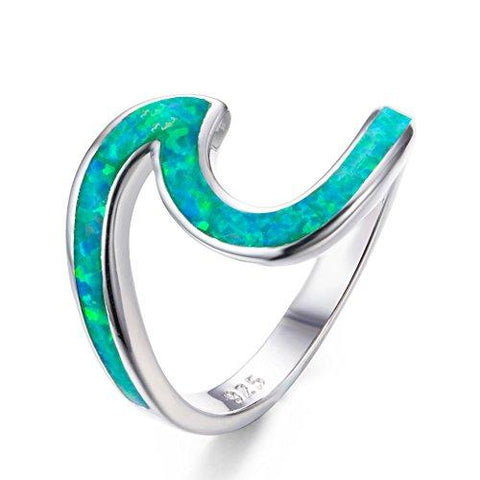 925 Sterling Silver Ocean Lab Simulated Green Opal Wave Ring