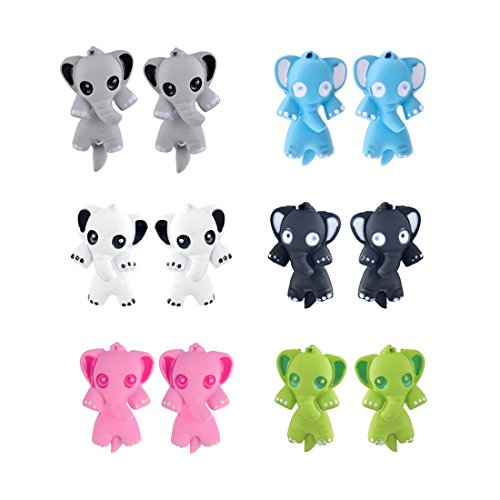 Polymer Clay Elephant Handmade Piercing Clip Stud Earrings Set of 6 - InnovatoDesign