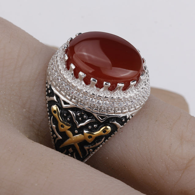 Gold Plated Men Sterling Silver Vintage Nature Agate Double Sword AAA Cubic Zircon Ring