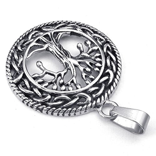 Men Women Celtic Tree of Life Stainless Steel Pendant Necklace, Silver, 24 inch Chain - InnovatoDesign