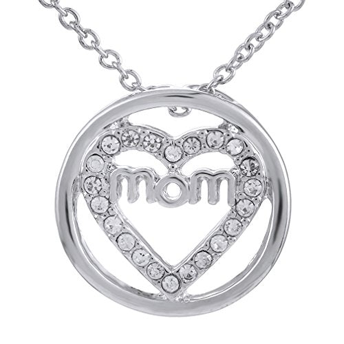 Mom Open Heart Circle Pendant Necklace Rhinestone Alloy With Silver Color - InnovatoDesign
