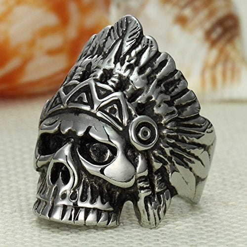 Men's Boys Cool Feather Dayak Indian Headdress Punk Skull Stainless Steel Ring,silver black