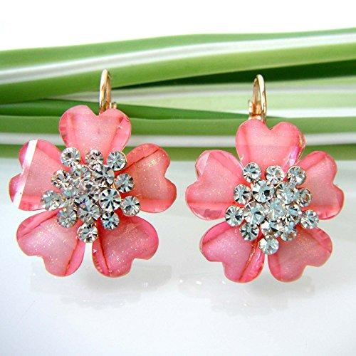 18k Gold Plated Flower Pink Acatate Crystal Az1585e leverback Earrings